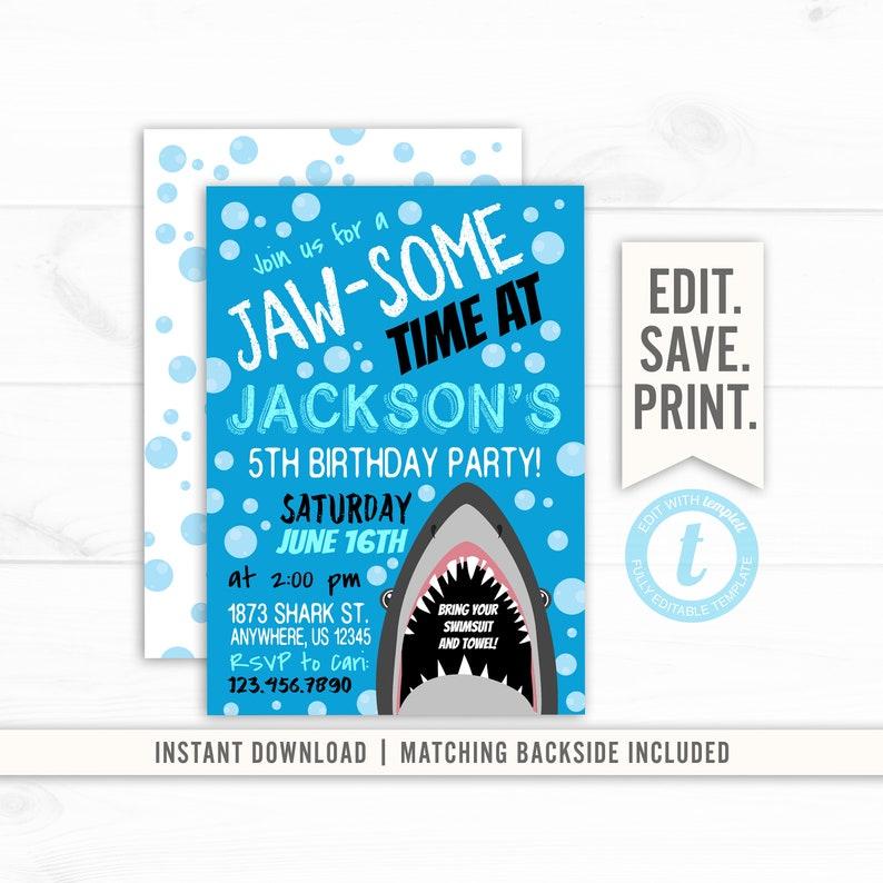 Shark Birthday Invitation Editable BIrthday Boy Attack Pool Party Template Swimming
