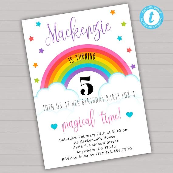 Rainbow Birthday Invitation Rainbow Invitation Rainbow Party Etsy