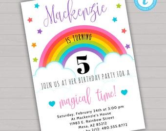 Rainbow Birthday Invitation Rainbow Invitation Rainbow Party Magical Birthday Invitation Stars Invitation Girl Birthday Invitation Template