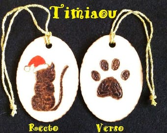 Christmas cat duplex pyrographed on wood