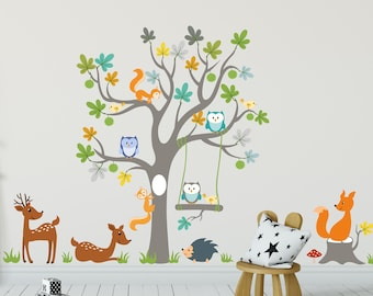 Wall Stikers Jungle Animals WallDecal Decor, Girls Boys Nursery Room Decor  Wall Art Trees Childroom Forest Kinder Baby Kids Room Wall Decal