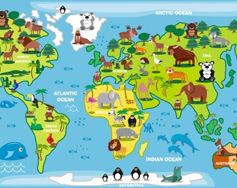 World Map Decal Countries Of The Kids Country Poster Peel And Stick Sticker Muursticker XL