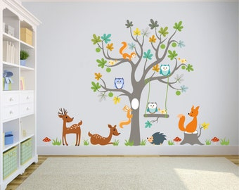 Kids Room Wall Decal Etsywall Stikers Jungle Animals Walldecal Decor, Girls  Boys Nursery Room Decor