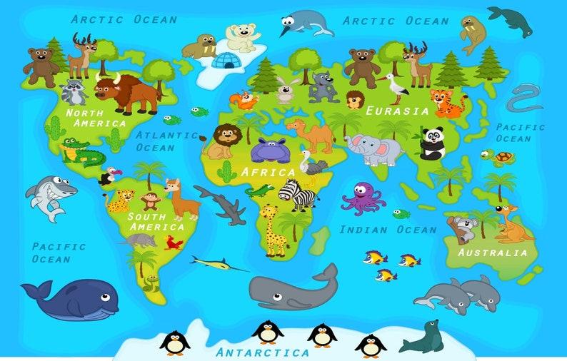 Weltkarte Aufkleber, Länder der Weltkarte Kinder Land Weltkarte Poster  schälen und Stick Poster Aufkleber, Weltkarte Aufkleber Muursticker XL