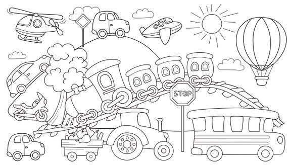 Big Giant Coloring Book For Children Floor Coloring Pages Etsy