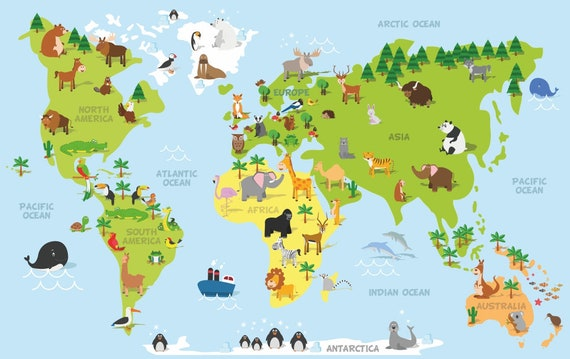 World Map Decal, Countries of the World Map, Kids Country World Map Poster  Peel and Stick Poster Sticker, World Map Decal Muursticker XL