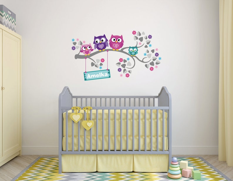 Jungle Animals Wall Decal Sticker Owl Owls personalized name Wall Decal WallDecal Decor Girls Nursery Room Decor Wall Art Trees Childroom