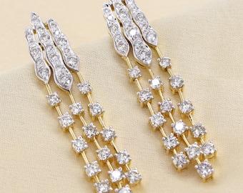b9e8153ee 4.22 CT Natural Certified Diamond 9K Yellow Gold Dangle Earrings