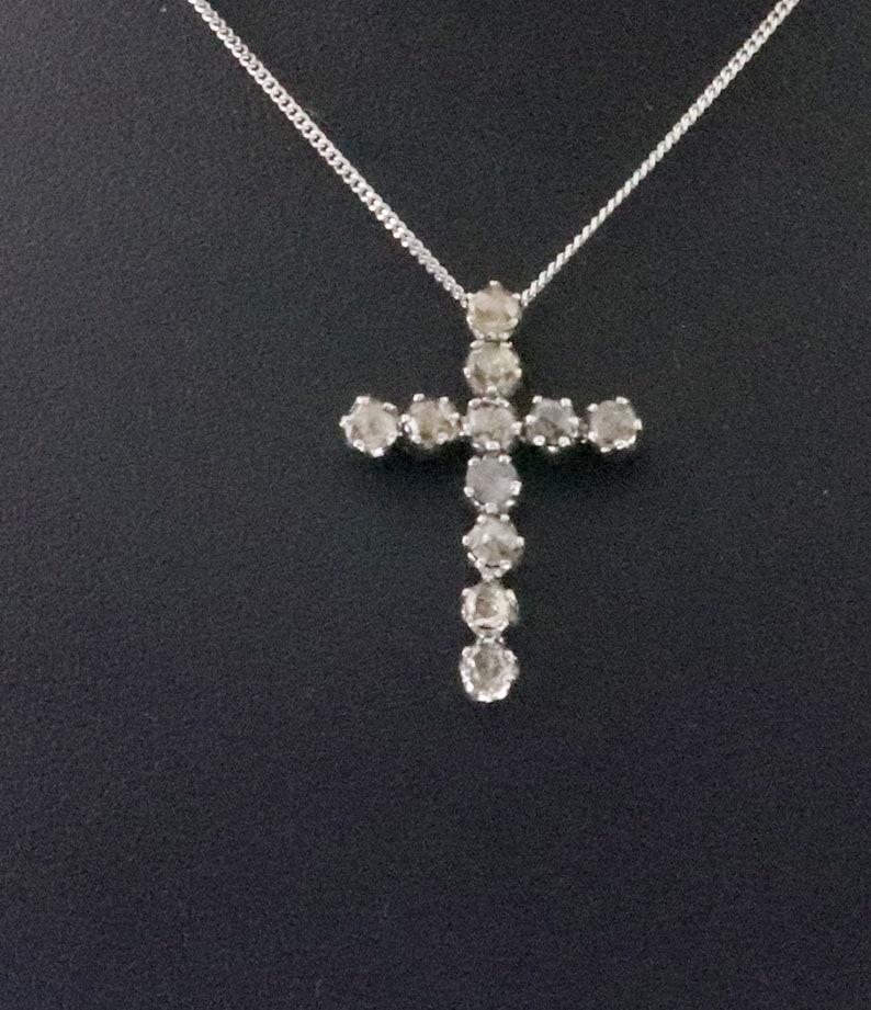 1.80 CT Natural Brown Jesus Cross Pendant 925 Sterling Silver  SPP 1