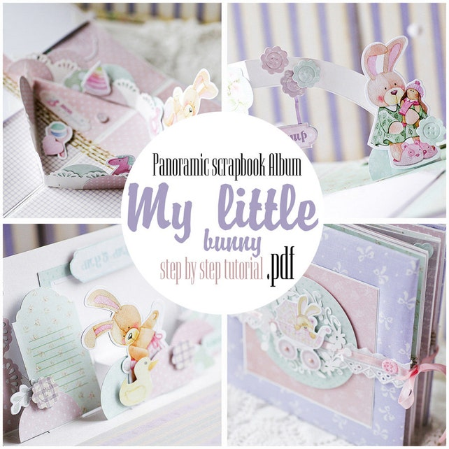 little bunny panoramic scrapbook album pdf tutorial how to etsy