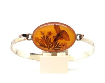 Orange Flower Resin Bracelet - Vintage Bangle Bracelet 1980 - Woman Jewelry Boho Trend 1980 - Maillechort Bracelet