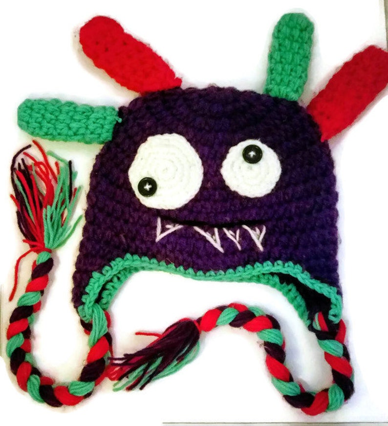 af3683b71e3ad Crochet slouch beanie Monster winter hat pom pom hat beanie