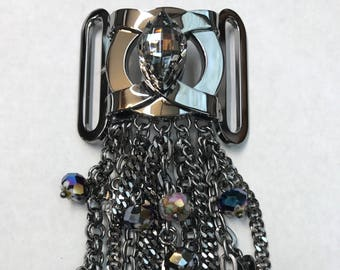 Gunmetal and Crystal Brooch/Buckle Black Diamond with Bead and Chain Embellishment