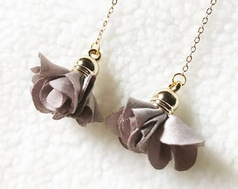 Long earrings, Cloth art flower, elegant, concise, daily, birthday gift, party