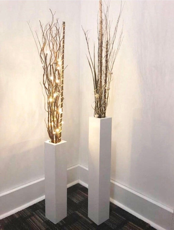 Wood Floor Vases Set Of Two 24 Tall And 18 Tall Etsy