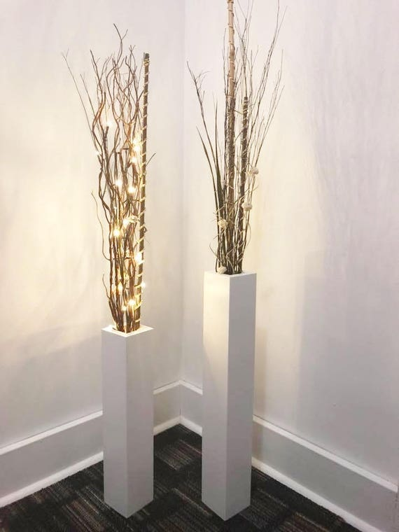 Wood Floor Vases Free Us Shipping Set Of 2 Wood Floor Vases Etsy