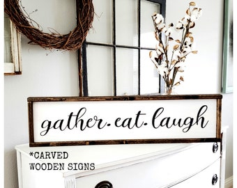 Elegant Gather Eat Laugh Sign | Carved Gather Sign | Kitchen Wall Decor | Dining  Room Wall Decor