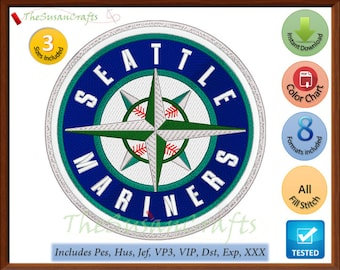 Seattle MARINERS Stickerei Entwirft, Pes, Hus, Jef, Dst, Exp, Vp3, Xxx, Vip