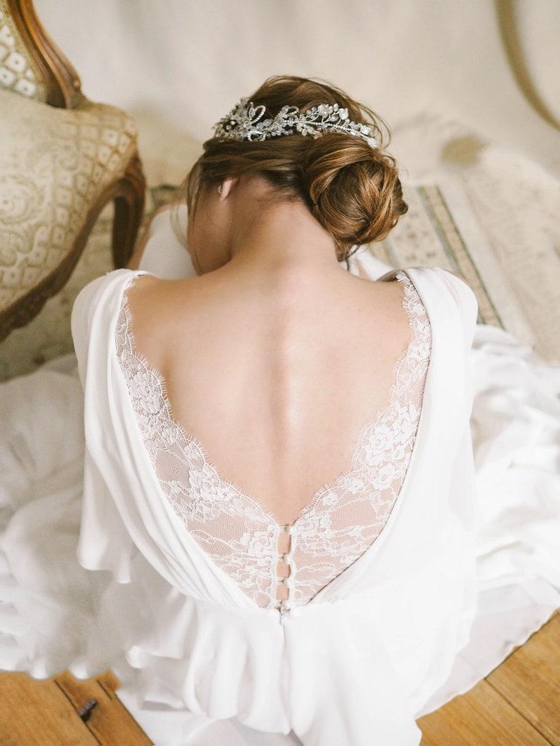 Zijden trouwjurk chiffon jurk kant trouwjurk open rug image 0