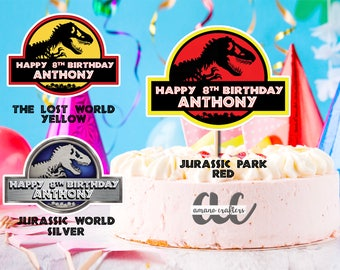 Jurassic Park Cake TopperKids TopperBirthday Party DecorationsPrintable Dinosaur Trex Topper World
