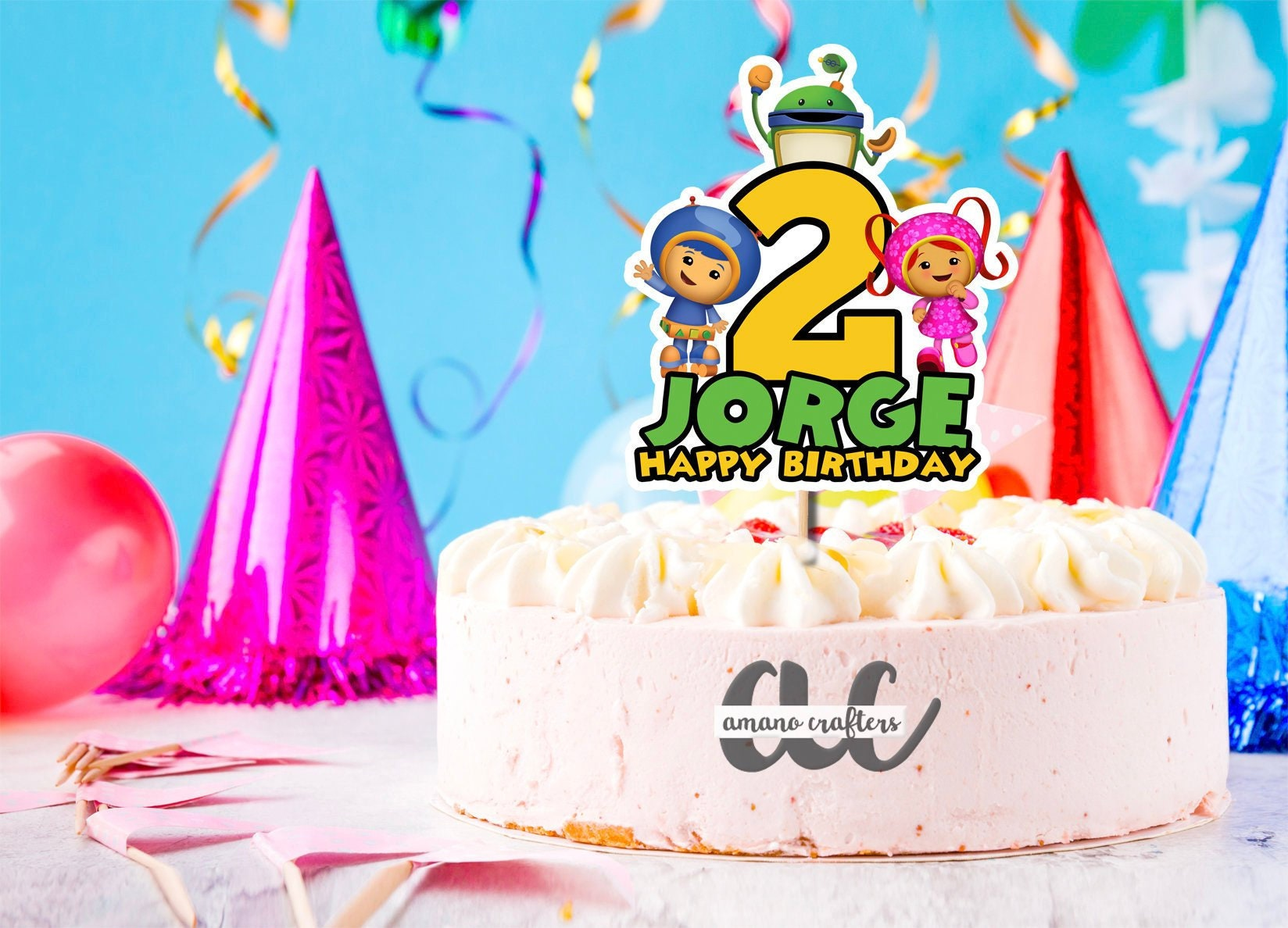 Groovy Team Umizoomi Cake Topper Team Umizoomi Birthday Team Etsy Personalised Birthday Cards Epsylily Jamesorg