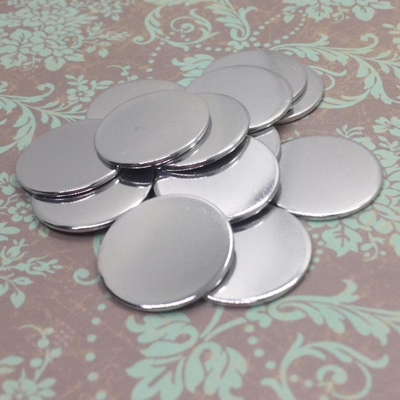 """16 calibre 7/8"""" aluminium estampage blancs (100 ct), 7/8 po en aluminium ronds, estampe de disques métalliques estampage blancs, en aluminium"""