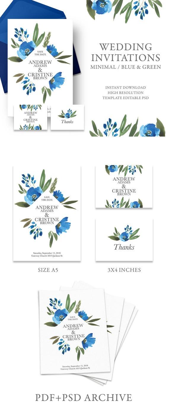 Wedding Invitation Template Blue Floral Wedding Bridal Shower Etsy