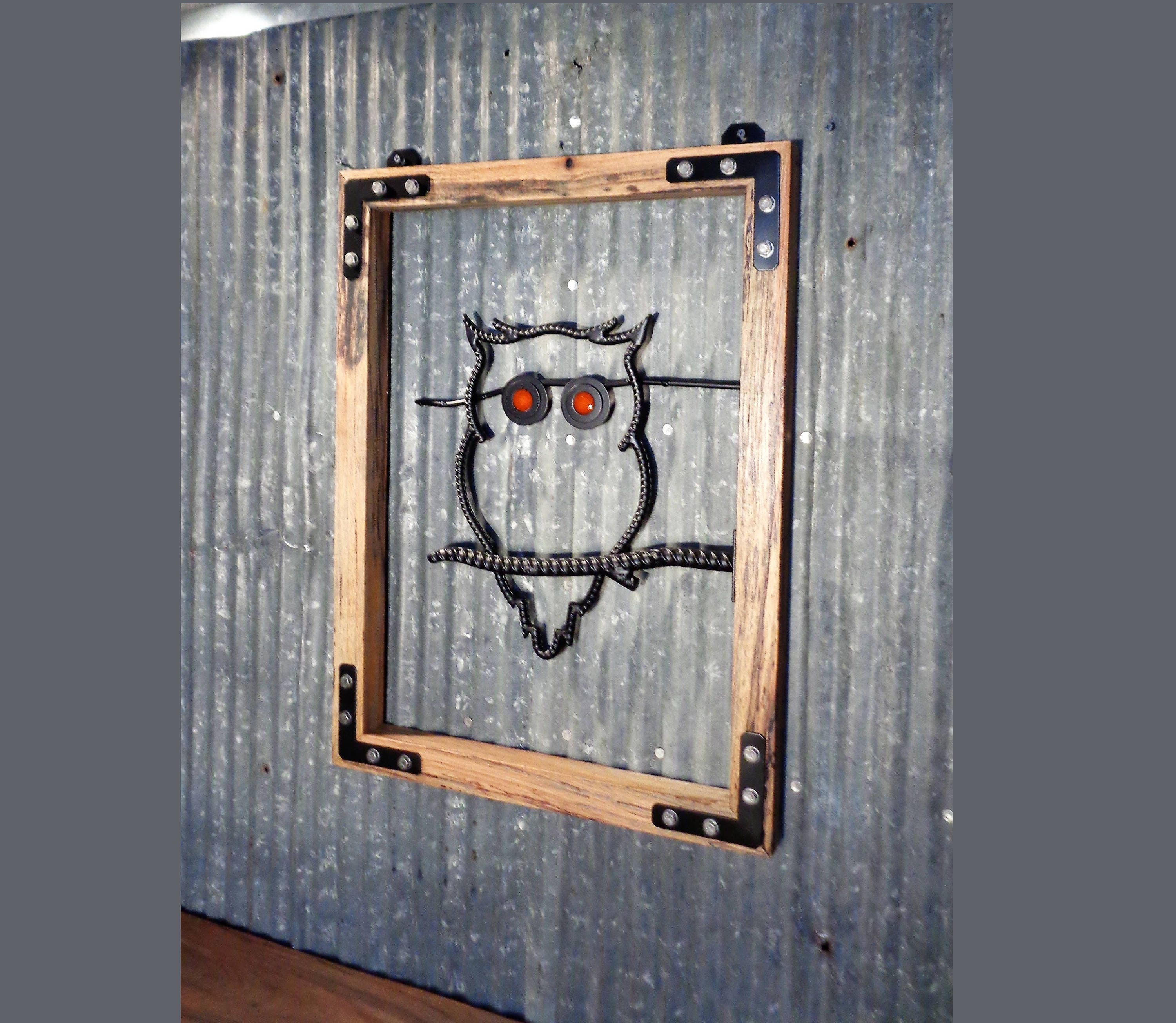 Absolutely BEAUTIFUL! 18 x 24 Custom Handmade ReBar Owl Wall Art ...