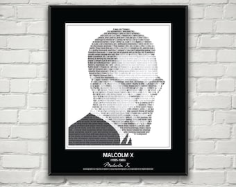 Malcolm X In His Own Words Quotes Art Poster Print Image Composed Of Over 25 Inspirational Black Lives History Matter