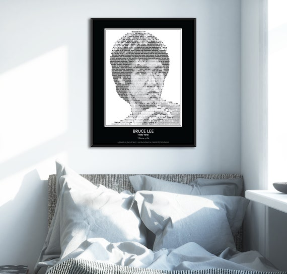 Original Bruce Lee Poster In his own words Image made of Bruce Lee quotes!