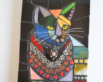 Cat with Metal - Indoor Mixed Media Mosaic Wall Hanging