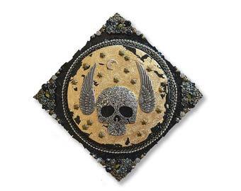 Winged Black Skull Mixed Media Mosaic