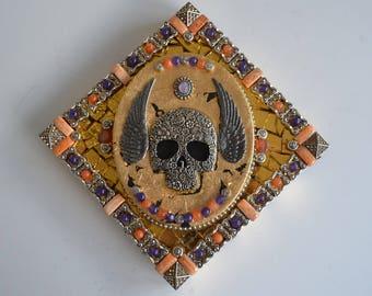Winged Gold Skull - Mixed Media Mosaic