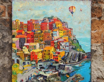 The city of a thousand rainbows (Cinque Terre, Italy), Original Oil Painting on canvas, Original Artwork,, Hand painted, Original Gift