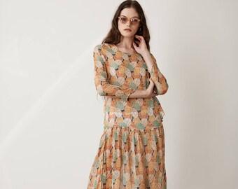 1920s Silk Chiffon Dress