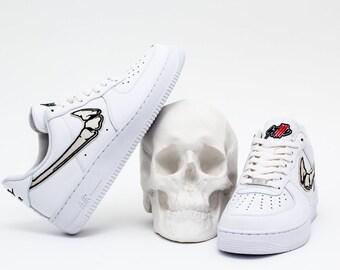 SKULL N' ROSES AIR FORCE 1 Low White Custom Sneakers