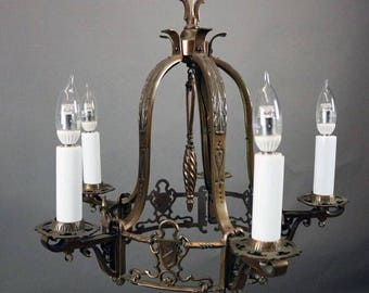 Gothic chandelier etsy antique arts crafts spanish revival storybook gothic moe bridges five light chandelier with shields aloadofball Images