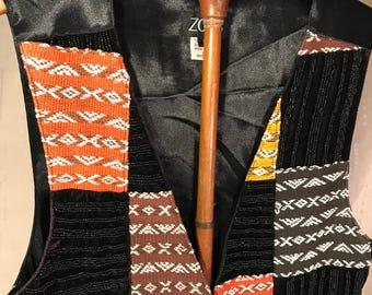 Vintage 1980s ZOOG Indonesian Handmade Beaded Patchwork Vest