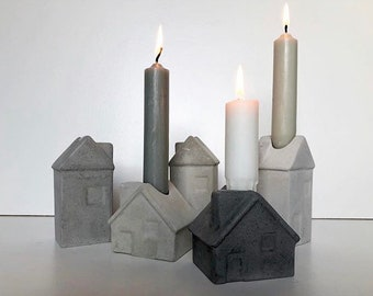 Beton Hauser set of 2, concrete candle holders, concrete houses, concrete candleholders