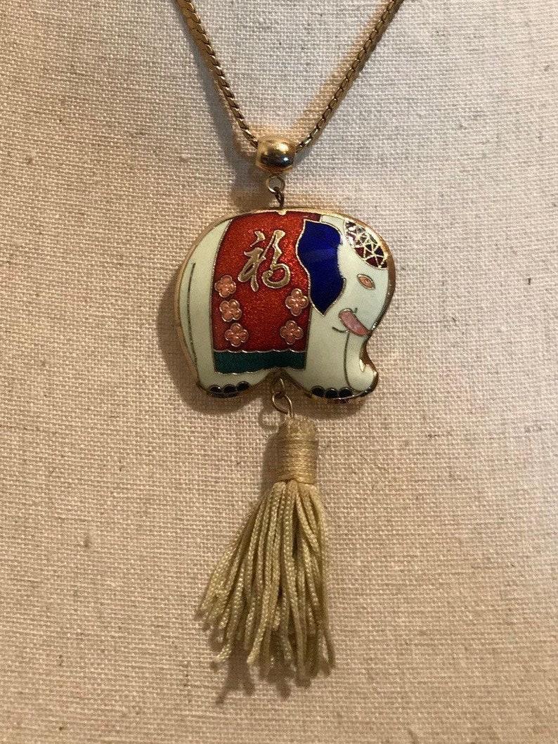 1970\u2019s enamel and gold elephant pendant necklace