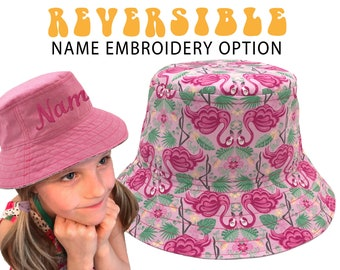 c0fb023f Pink Flamingo Hat, Girl's Sun Hat with Personalised Name Embroidery.