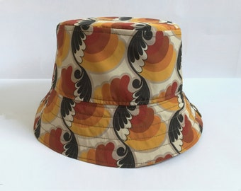 425645d8 Retro Pattern Bucket Hat for Men and Ladies with Reversible Denim Side.