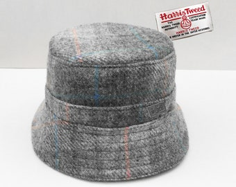 Grey Bucket Hat in Checked Harris Tweed. f0d6e0be89bf