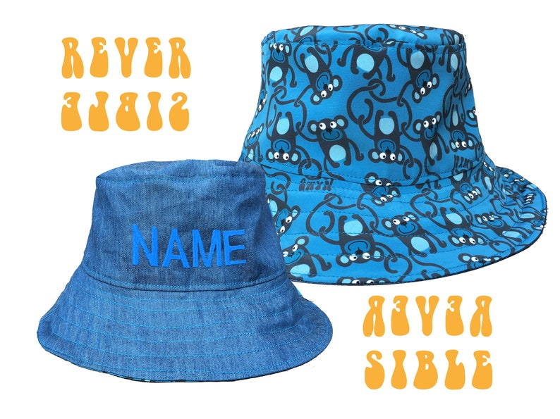 936398de Monkey Bucket Hat Boy's Sun Hat with Personalised Name | Etsy