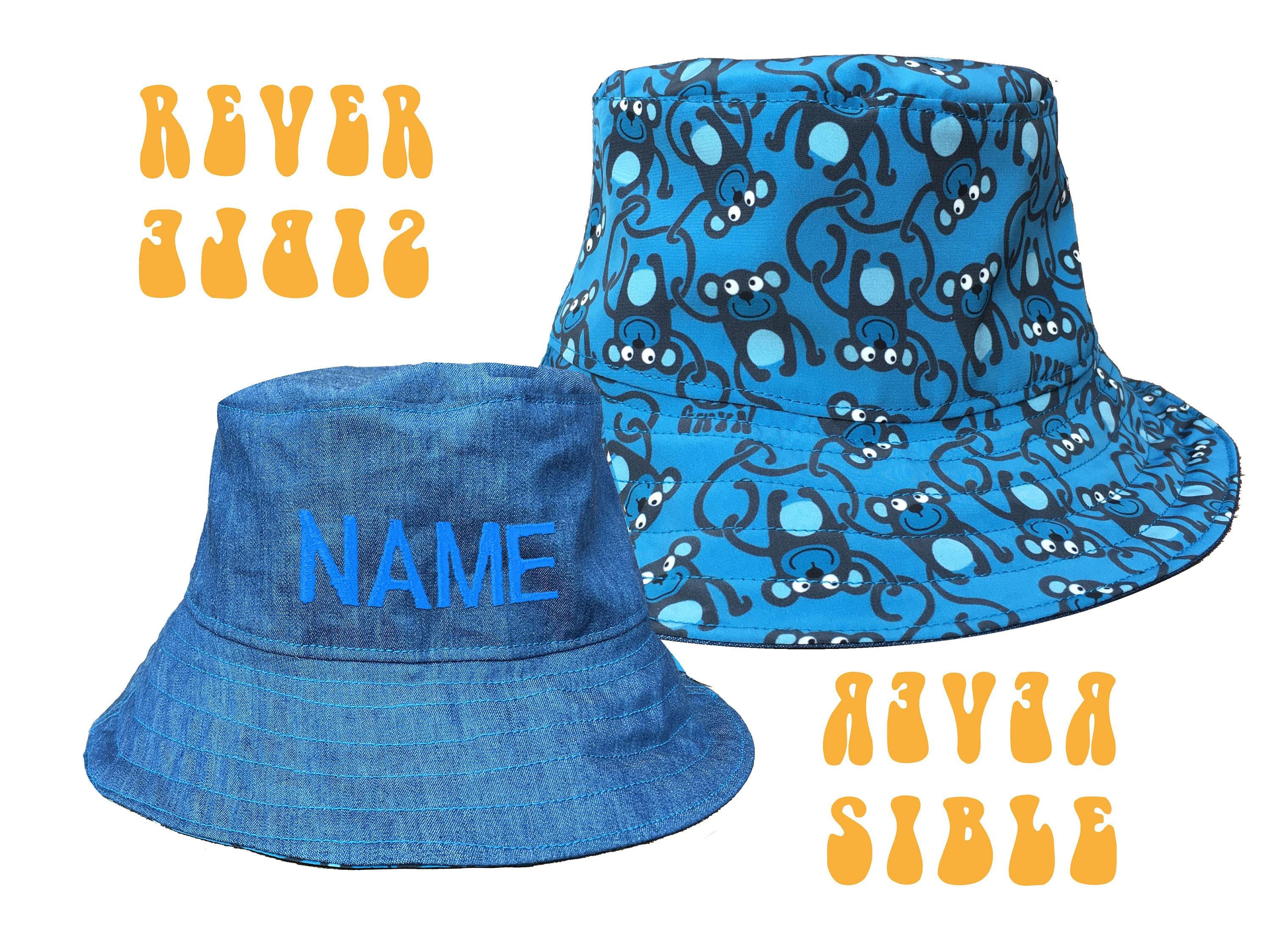 ea7d7726a Monkey Bucket Hat, Boy's Sun Hat with Personalised Name Option.