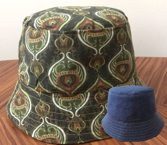 Reversible Bucket Hat in a Khaki Olive Green Paisley Style  8efee3818a5