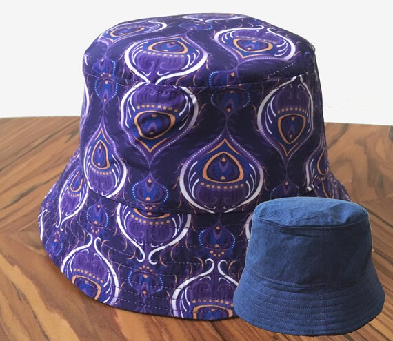 Men s Bucket Hat Denim and Purple Reversible Sun Hat  542157d1ce52