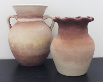 Set of 2 Hand Painted Ombre Clay Planters