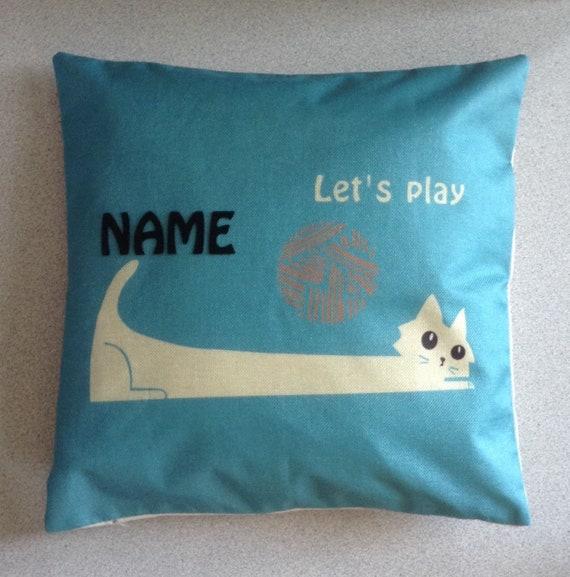 Housse de coussin animaux chat accessoire Animal cadeau personnalisé pour animaux propriétaires cadeau Home Decor nom monogramme lettres mots coussin toile chien