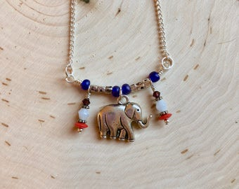 Free US shipping--elephant necklace with beaded charms